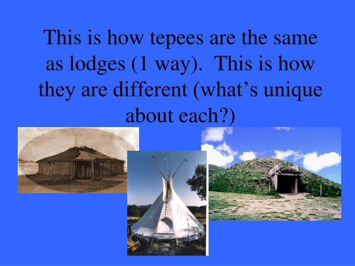 This is how tepees are the same as lodges (1 way).  This is how they are different (what's unique about each?)