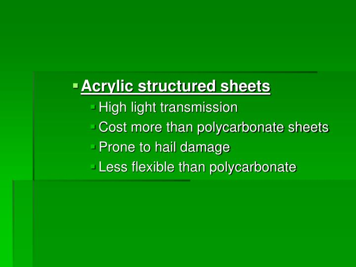 Acrylic structured sheets