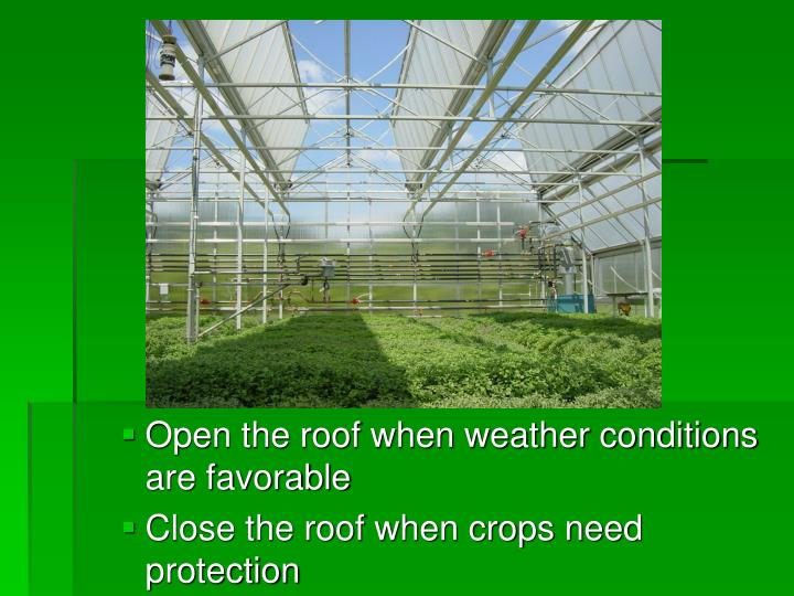 Open the roof when weather conditions are favorable