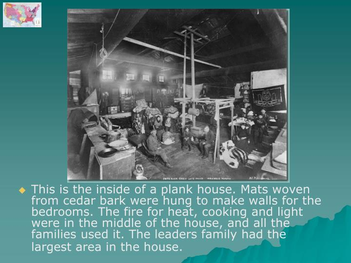 This is the inside of a plank house. Mats woven from cedar bark were hung to make walls for the bedrooms. The fire for heat, cooking and light were in the middle of the house, and all the families used it. The leaders family had the largest area in the house.