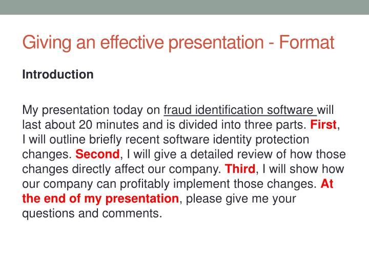 Giving an effective presentation - Format