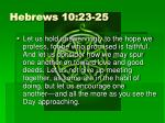 hebrews 10 23 25