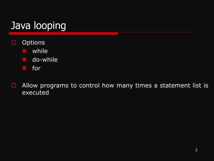 Java looping