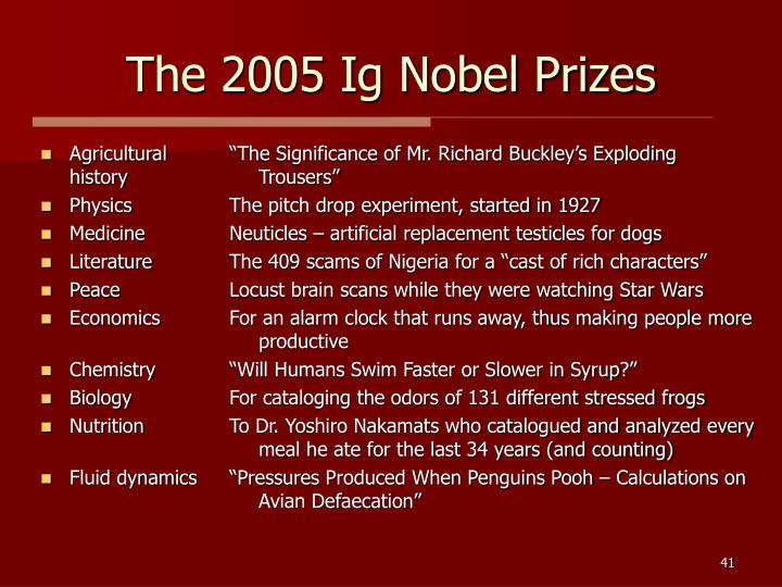 The 2005 Ig Nobel Prizes
