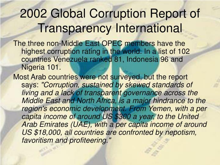 2002 Global Corruption Report of Transparency International