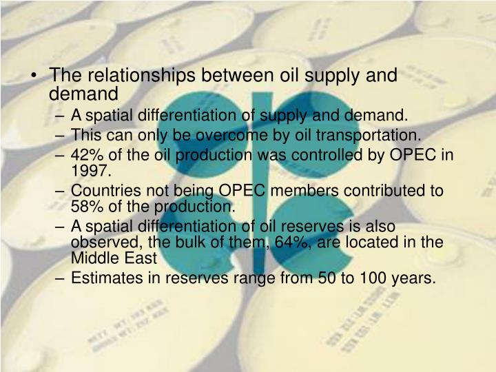 The relationships between oil supply and demand