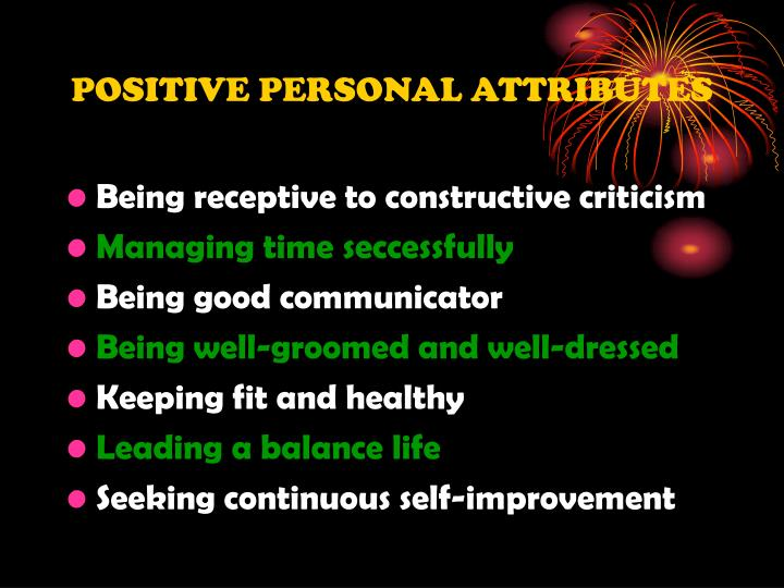 POSITIVE PERSONAL ATTRIBUTES