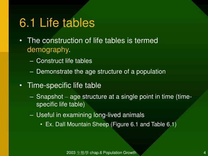 6.1 Life tables
