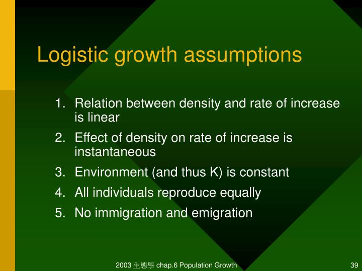 Logistic growth assumptions