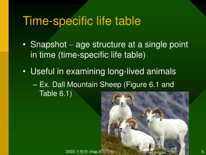 Time-specific life table