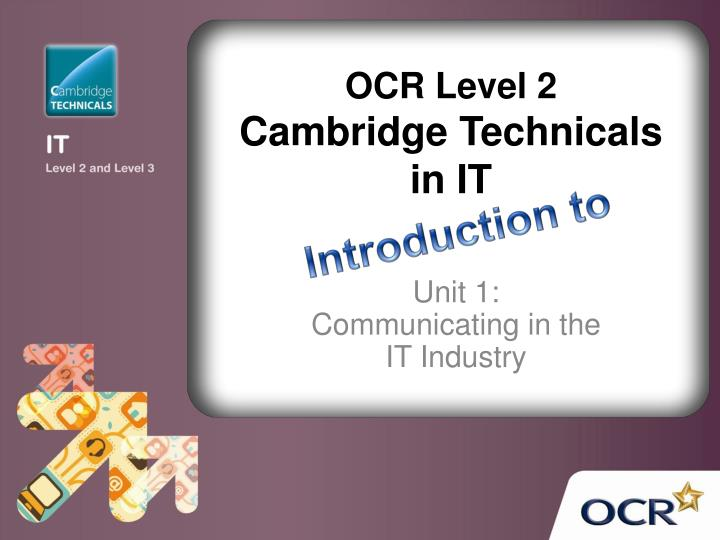 Ocr level 2 cambridge technicals in it