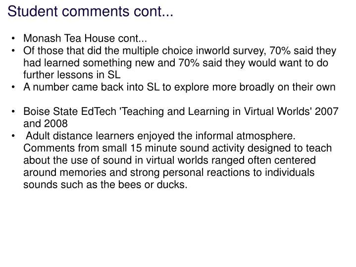 Student comments cont...