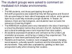 the student groups were asked to comment on mediated rich intake environments