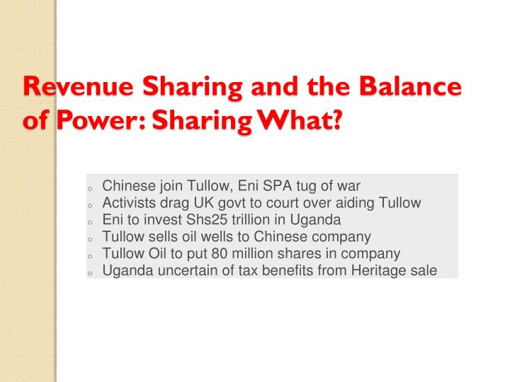 Revenue Sharing and the Balance of Power: Sharing What?