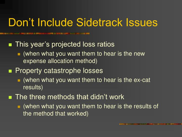 Don't Include Sidetrack Issues