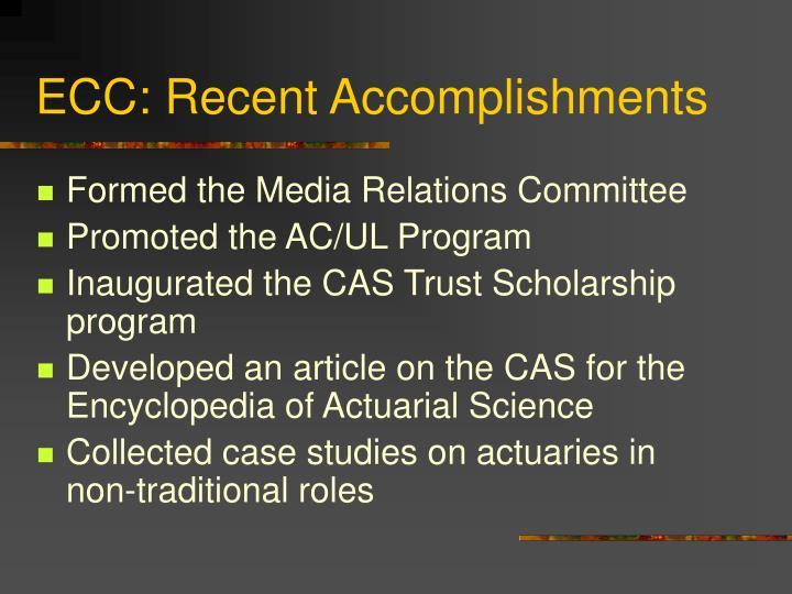 ECC: Recent Accomplishments