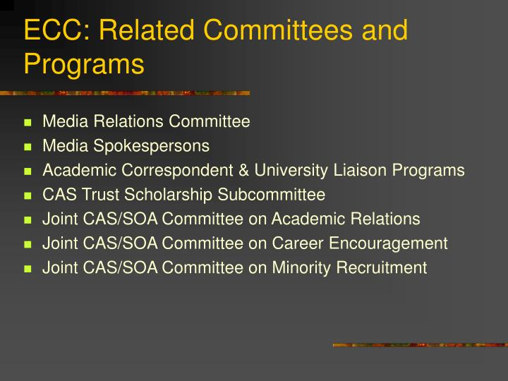 ECC: Related Committees and Programs