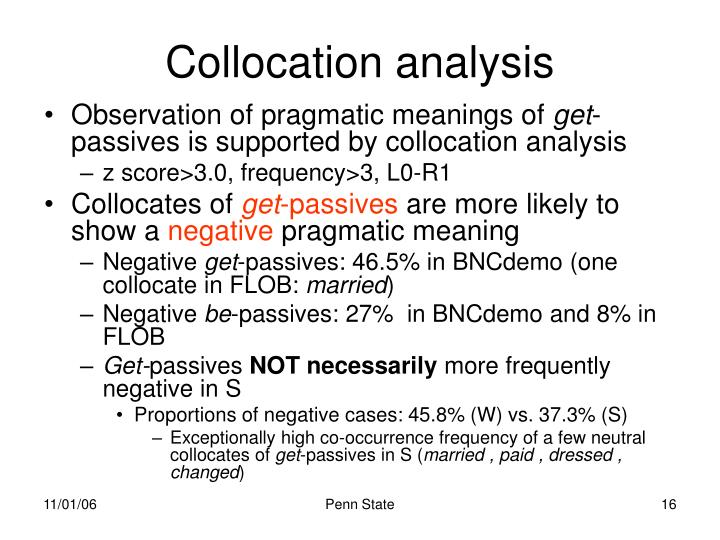 Collocation analysis