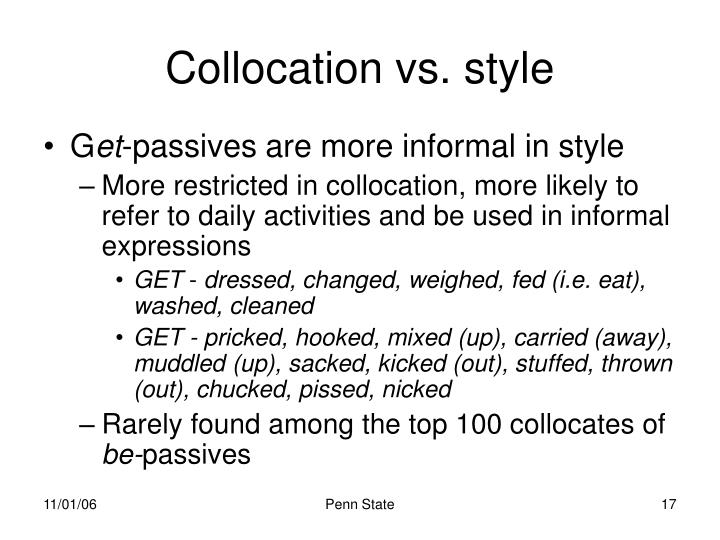 Collocation vs. style