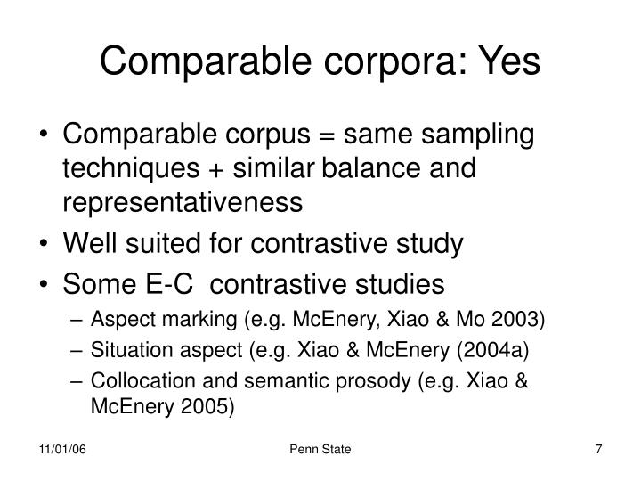 Comparable corpora: Yes