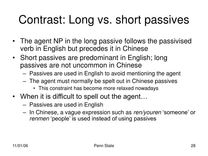 Contrast: Long vs. short passives