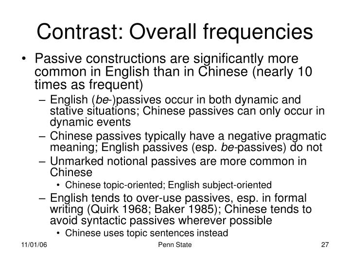 Contrast: Overall frequencies