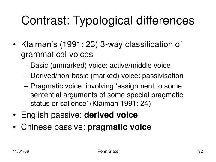 Contrast: Typological differences