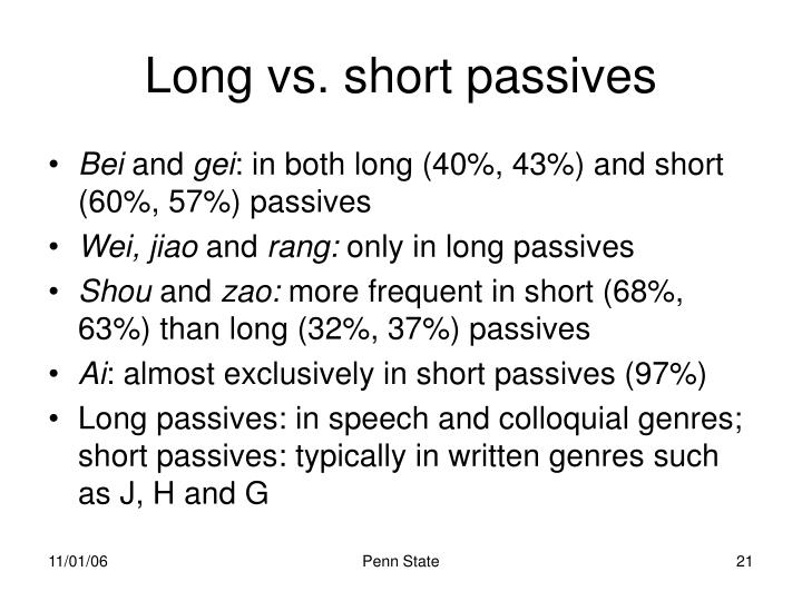 Long vs. short passives