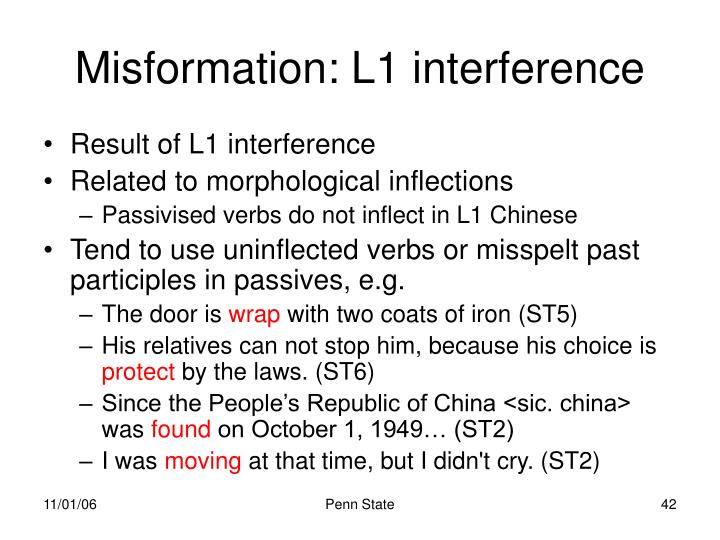 Misformation: L1 interference