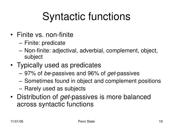 Syntactic functions