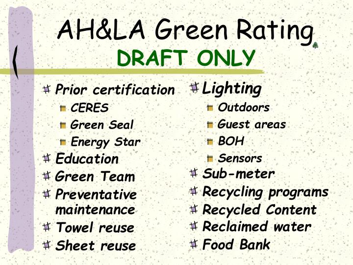 Ah la green rating draft only