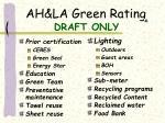 ah la green rating draft only