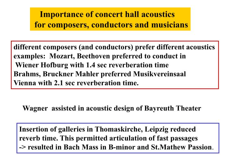 Importance of concert hall acoustics