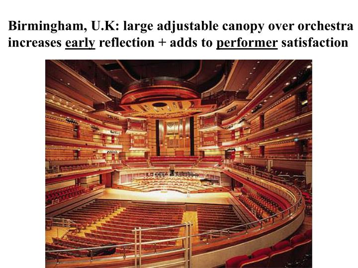 Birmingham, U.K: large adjustable canopy over orchestra