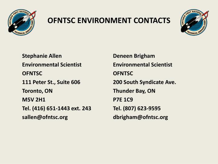 OFNTSC ENVIRONMENT CONTACTS