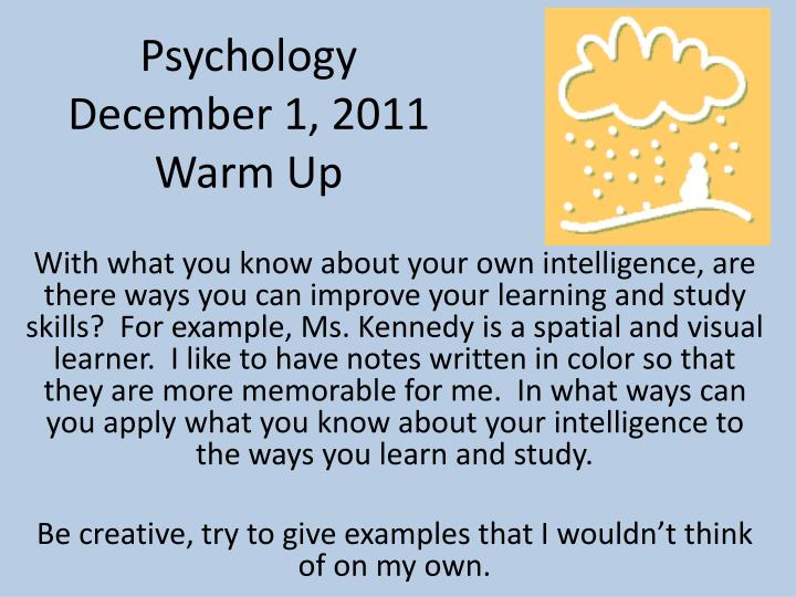 Psychology december 1 2011 warm up