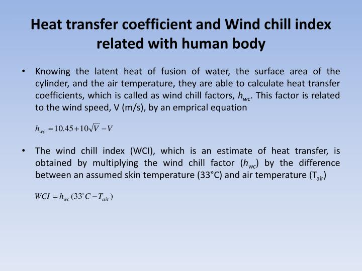 Heat transfer coefficient and Wind chill index related with human body
