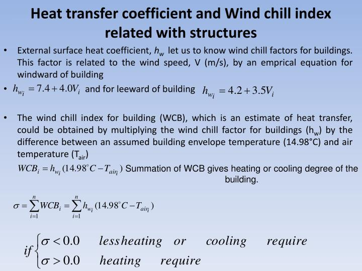 Heat transfer coefficient and Wind chill index related with structures