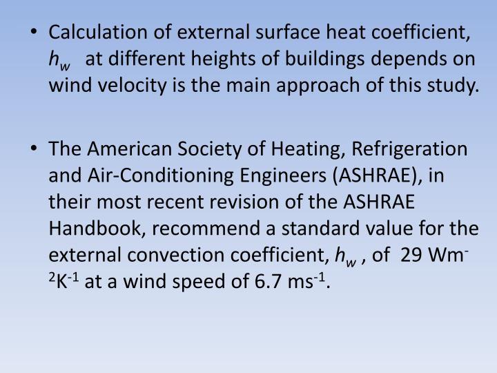Calculation of external surface heat coefficient,