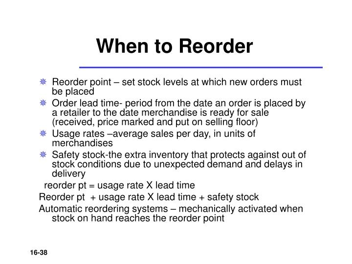 When to Reorder
