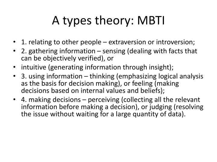 A types theory: MBTI