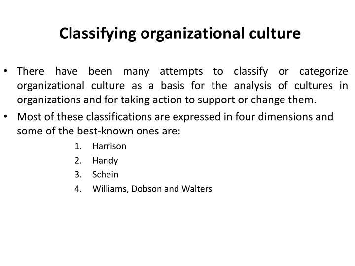 Classifying organizational culture