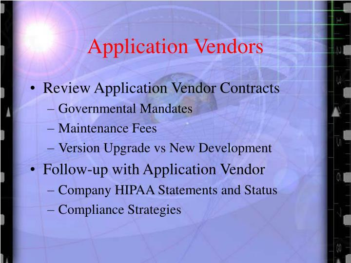 Application Vendors