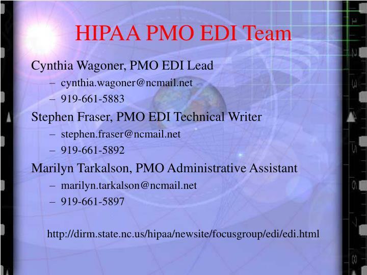 HIPAA PMO EDI Team
