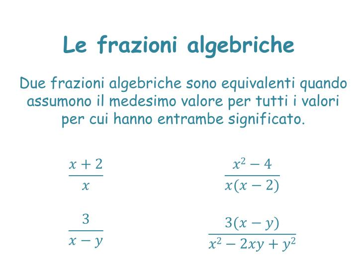 Le frazioni algebriche