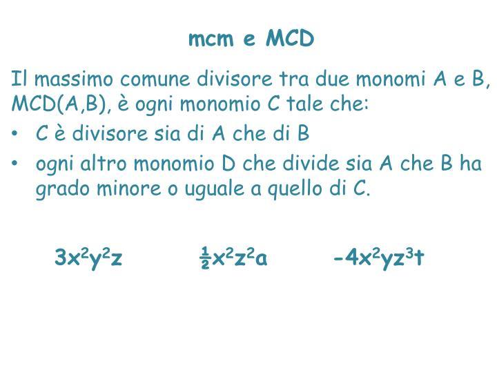mcm e MCD