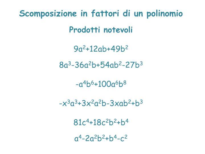 Scomposizione in fattori di un polinomio