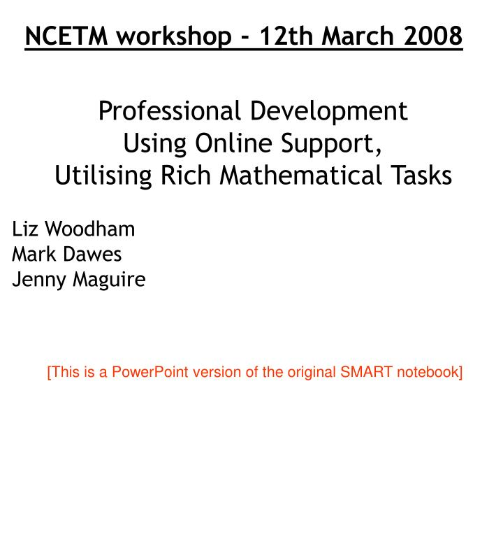 NCETM workshop - 12th March 2008