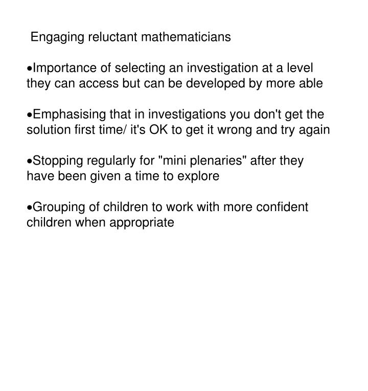 Engaging reluctant mathematicians