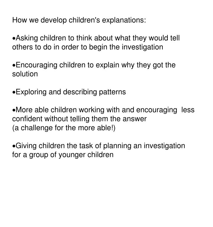 How we develop children's explanations: